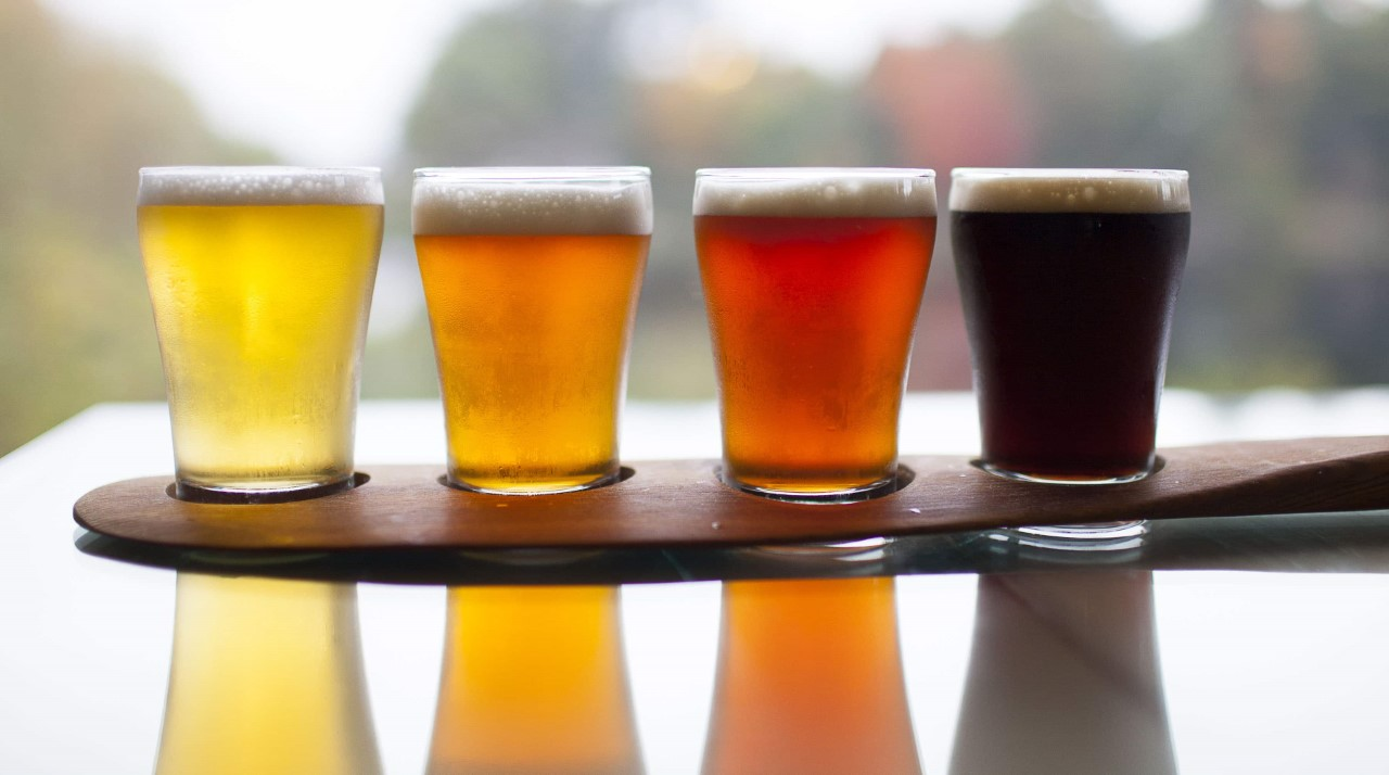 Fun things to do in Minden include enjoying a Flight of beer from Boshkung Brewing resting on a paddle