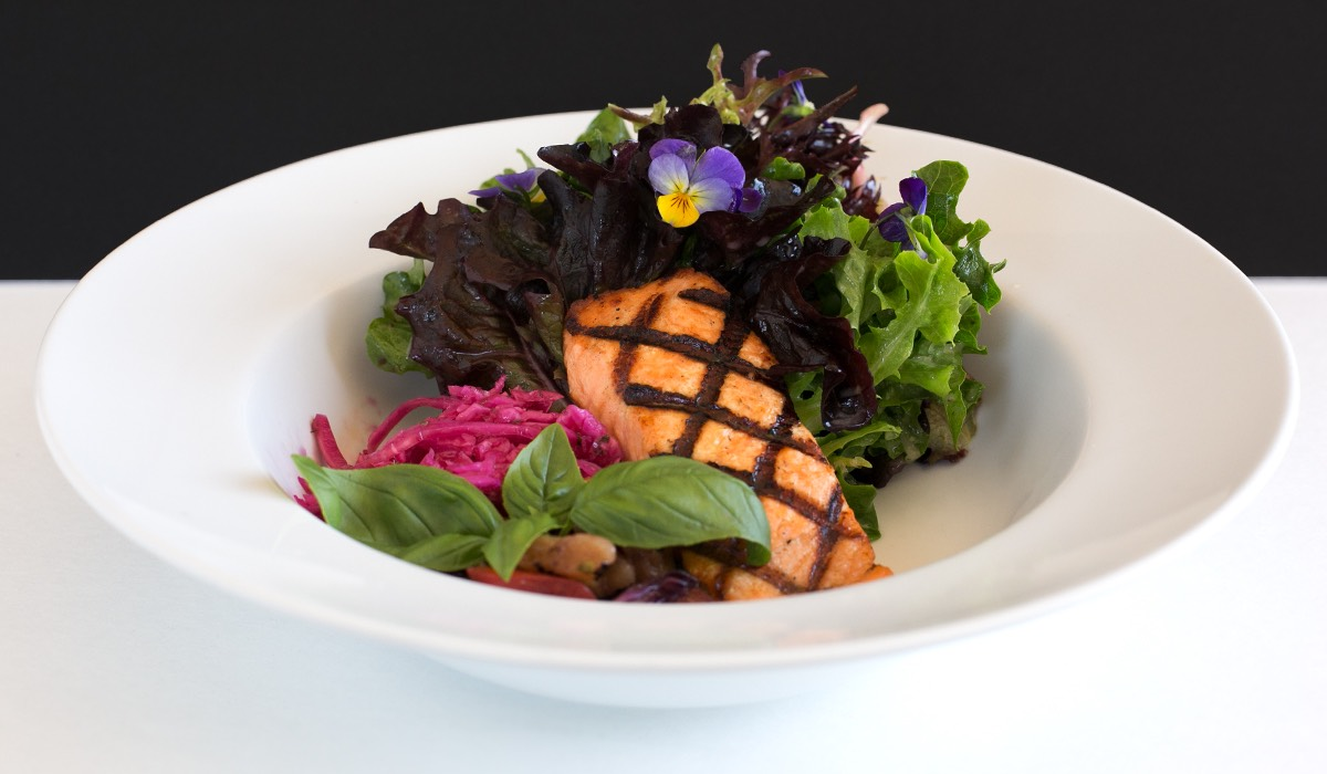 Top Haliburton restaurant Rhubarb serving a salmon dish