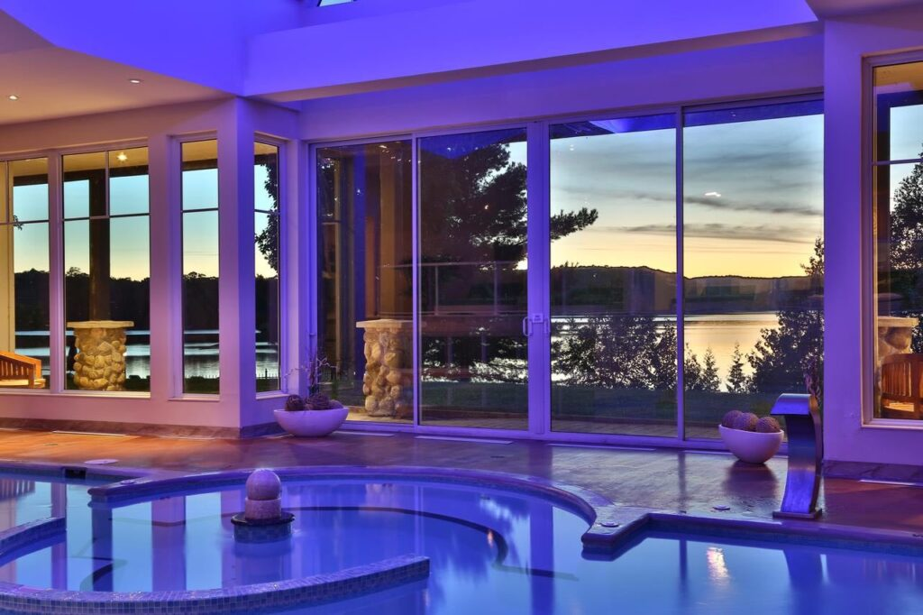 Top Things to do in Haliburton include staying at Sir Sams Inn with indoor swimming pool at dusk