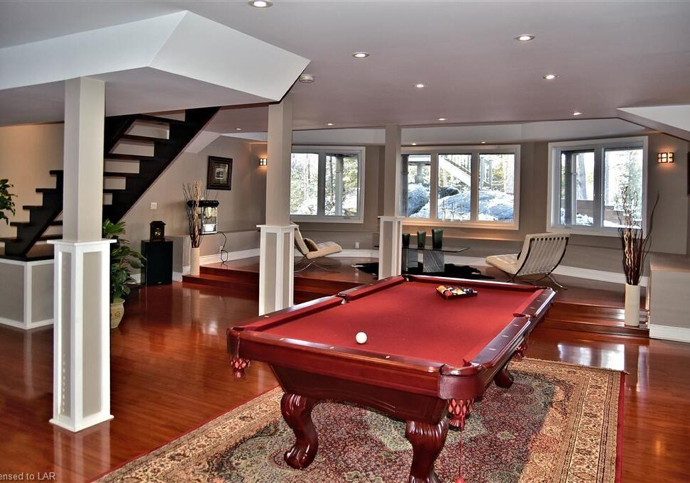 Otter Lake cottage lower level with pool table